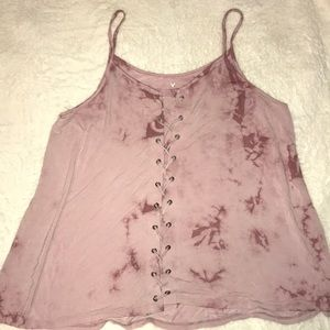 AEO Soft & Sexy Pink Lace-Up Tank Size XL